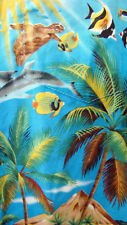Styled by RJC Mens Blue Hawaiian Shirt Med Turtles Angel Fish Volcanoes Dolphins