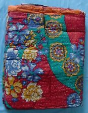Vintage old retro patchwork quilt gudari hand stitched cotton knit bed cover