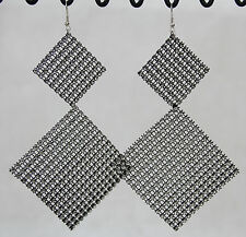 "Dangle Earrings Super Big Huge Black Square Sparkle Mesh 5"" Long Lightweight"