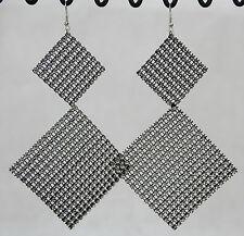 "Super big huge dangle earrings black square sparkle mesh 5"" long lightweight"