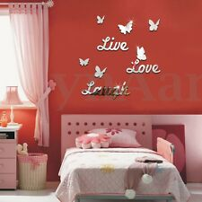 3D LIVE LOVE LAUGH Butterfly Mirror Wall Sticker Removeable Silver Art Decal Set