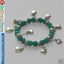 Turquoise Beads Elastic Bracelet with Lovely Heart Charms, fashion accessories