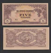 "Malaya Japanese Occupation 5 Dollars Prefix "" MJ "" - AUNC"
