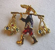 Brooch Pin Chinese Man Carrying   2 Baskets of Flowers Set With Diamantes Red