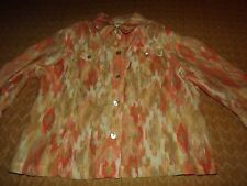 WOMEN'S PLUS RUBY RD. SHEER BURNOUT 3/4 SLEEVES CASUAL TOP sz 18