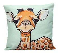 """Animale Giraffa Blu 17"""" QUADRATO Copricuscino Federa Home Decor Carino Regalo"""