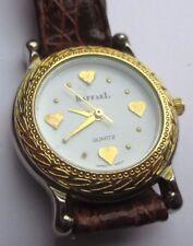 montre couleur or bijou rétro déco gravé coeur quartz bracelet cuir  * 1812