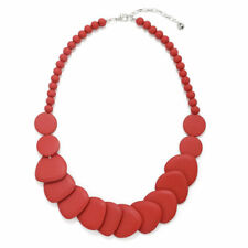 Layered pastel red shaped disc and bead necklace made from a lightweight wood