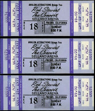 3 Rare Unused Consecutive Low Numbers Rod Stewart Concert Tickets Dec 18th 1977