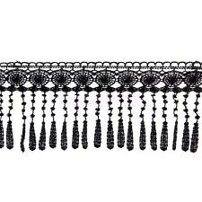 3yds 11.5cm Wide Black Tassel Lace Trim Sewing Applique Dress Clothing DIY Decor