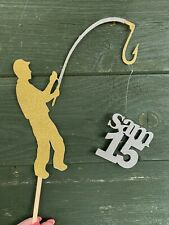 Fishing Fisherman Custom Message Age Happy Birthday Cake Topper Teenager 18 21