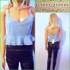 NEW BLONDE+BLONDE UK 12/14 WOMEN`S BLUE DENIM LOOK STRAPY CROPPED PARTY TOP #10
