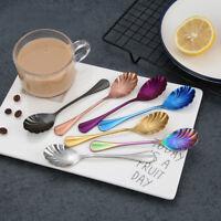 Stainless Steel Latte Shell  Tea Coffee Spoon  Ice Cream Dessert Sundae Spoons