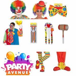 Clown Adult Accessories Circus Rainbow Fancy Dress Costume Lot