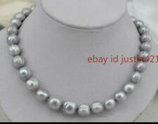 Genuine 7-8mm Baroque Silver Grey Pearl Necklace 18 Inch AAA