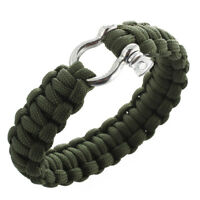 1X(survival bracelet with stainless steel bow shackle - olive drab green U8N4)