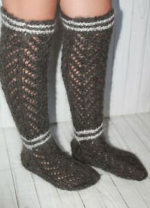 LEG WARMERS goat down angora stockings long socks 7-9 US