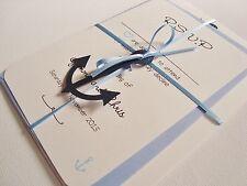 Personalised Handmade Ribbon Tied Anchor Nautical Wedding Invitation Sample