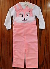Vintage baby clothes RABBIT dungarees set outfit 18 months UNUSED girls party