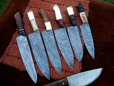 CUSTOM HAND MADE DAMASCUS STEEL CHEF KNIVES.LOT OF 7 (RAMBO 0101) )