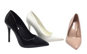 Zapatos de Salón de Mujer Alto Charol Punta Elegante Talón Perno Negro Nuevo