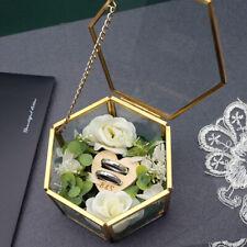 Personalized Glass Ring Box Custom Hexagon Ring Box Geometric Ring Bearer Box