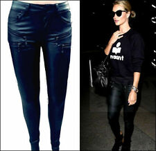 Leather Slim, Skinny, Treggings Mid 30L Trousers for Women
