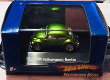 🏁 Hot Wheels Green Mini Custom Volkswagen Beetle 1:87 w/Case 🏁