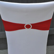 50 Lycra RED Band Stretch Chair Cover Sash for Wedding Party Seat Decoration