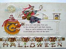 Vintage Halloween Postcard Nash H 17 Embossed Witch On Broom Moon & Row Of Owls