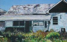 Original signed painting Florida bungalow, old house painting, abandoned house