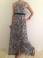 Women's Black White Sleeveless Beaded Boho Evening Party Maxi Long Dress Size 10