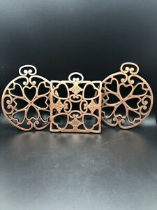"""3 Copper Trivets Pampered Chef  """"Round Up from the Heart 2007-2008"""""""