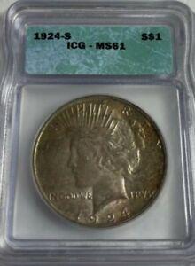1924 S  Peace Dollar MS61 !  VERY RARE  *KEY DATE*