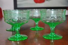 Vintage Goblets Cystal  green depression set of 4 - Pristine condition