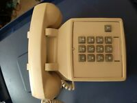 Vintage Touch Tone Desk Phone Telephone 1980s Tan/Cream Office 13 button