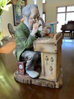 LEFTON PAINTED BISQUE PORCELAIN FIGURE #6647 WATCHMAKER REPAIRING WATCH - JAPAN