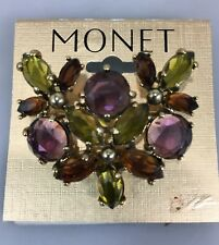 Monet Purple Green Brown Crystal Pin Brooch Goldtone Signed New 1 3/4 x 1 1/2""
