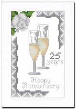 SILVER (25) WEDDING ANNIVERSARY CROSS STITCH CARD KIT