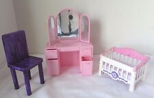 Barbie NURSERY Furniture: CRIB, DRESSER/Vanity w mirror & drawers & Chair Lot 3