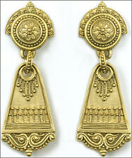 """Gold-Plated Roman Dangle Post Earrings with Sterling Silver Posts 0.75"""" x 2"""""""