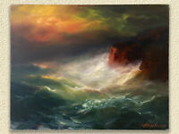 Original Oil painting on Canvas by Arthur Upelnieks Storm at Sea Signed USSR/USA