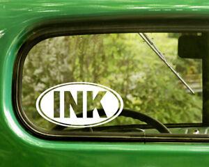 2 INK TATTOO DECALs Oval Sticker For Car Window Laptop Rv Bumper Truck Jeep