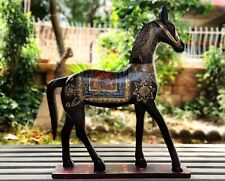 Old Collectible Wood Horse Statue Unique Hand Painted Horse Home Decor Art