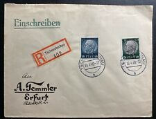 1940 Tschenstochau GEneral Government Poland Germany Registered Cover To Erfurt