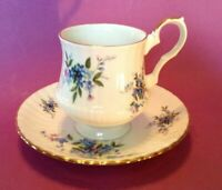 Royal Windsor Pedestal Teacup & Saucer - Blue & Purple Forget-Me-Not - England