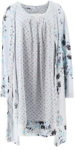 Carole Hochman Modern Floral Cotton Jersey Robe& Chemise Set Grey S NEW A346798