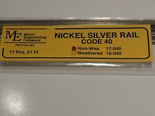 MICRO ENGINEERING # 17-040 NON WEATHERED RAIL CODE 40 NICKEL SILVER RAIL