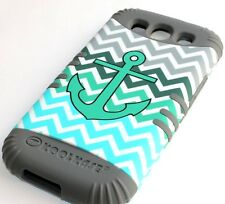For Samsung Galaxy S3 Siii - HARD&SOFT RUBBER HYBRID CASE TURQUOISE GREEN ANCHOR