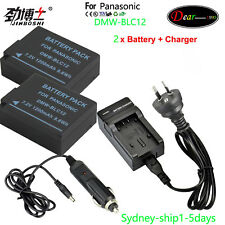 Charger +2x Battery for Panasonic DMW-BLC12e DMC-FZ300 DMC-G6 DMC-G7  AUship
